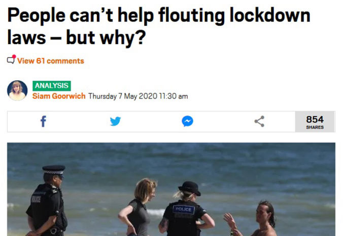 Flouting lockdown laws